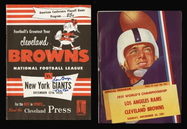 1950 NFL PLAY-OFFS 1951 NFL CHAMPIONSHIP GAME FOOTBALL PROGRAMS CLEVELAND BROWNS