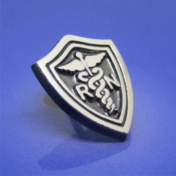 RN Registered Nurse Shield Pin Solid Sterling Silver