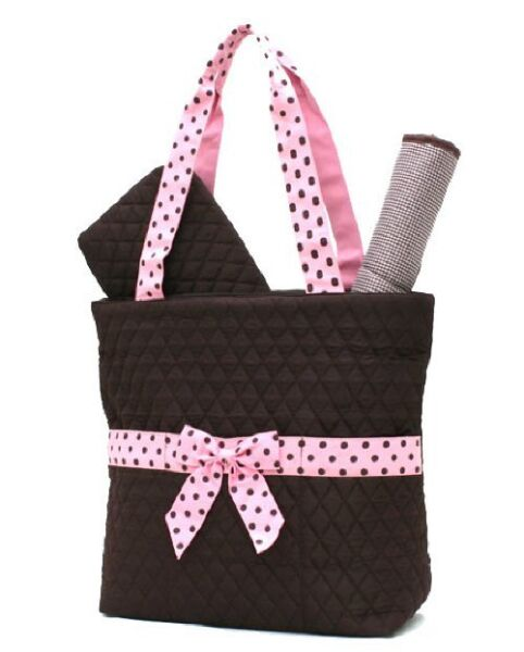 Belvah quilted monogrammable brown & pink baby girl 3pc diaper bag QSD2721 BRPK