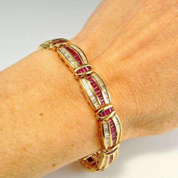 BAGUETTE VIVID RED NATURAL RUBY Diamond Wide Tennis Bracelet 14K 14kt 585 Gold