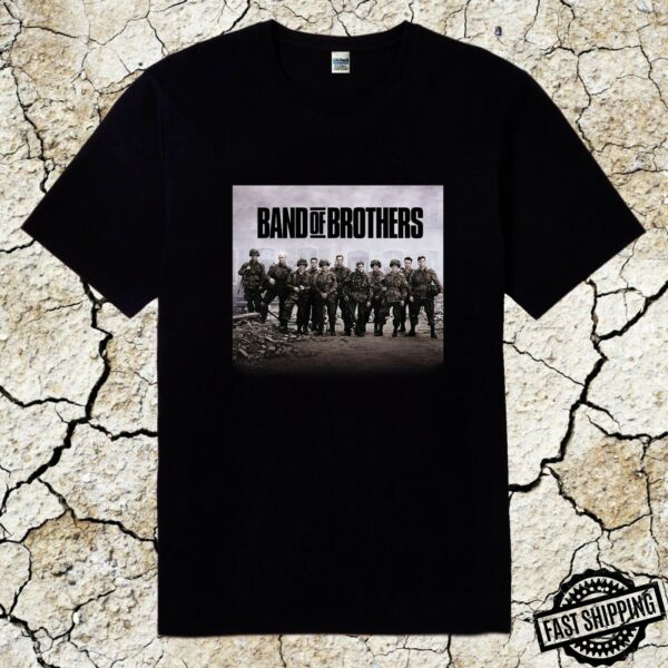 New Band of Brothers Tom Hanks Classic Movie Black Cotton T Shirt Sizes S to 5XL