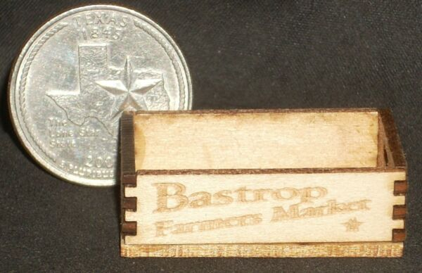 Dollhouse Miniature Bastrop Farmers Market Crate 1:12 Farm Produce Grocery Texas