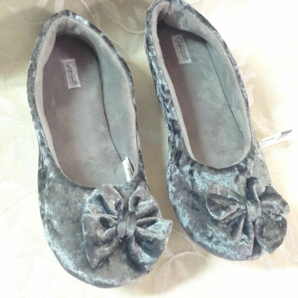 Jaclyn Smith Womens House Shoes Size L 910 Gray Velvet Lounge Warm Cozy NWT $12.95
