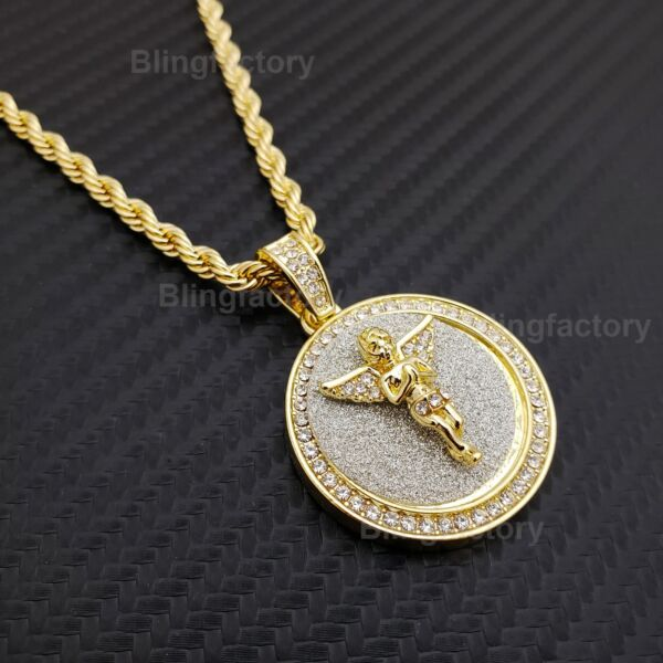Hip Hop Iced Baby Angel Medallion Pendant w 4mm 24quot; Rope Chain Fashion Necklace $19.94