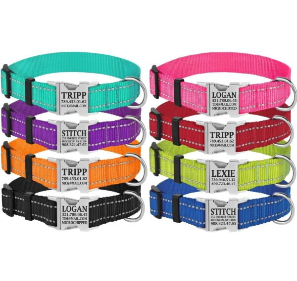 Reflective Dog Collar Safety Personalized Nylon Collars for Dogs Puppy S M L $11.99