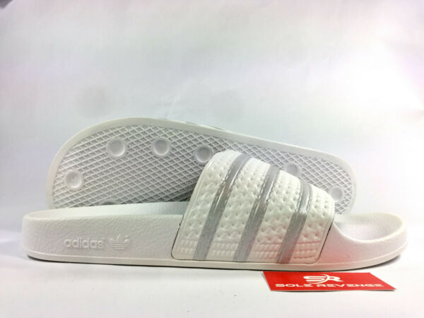 Mens New Adidas ADILETTE BY9910 White Grey Silver Sandals Flip Flip Slides c1