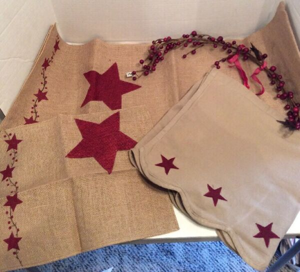 The Country House Collection Burlap Star Runner Placemats Curtain Pit Berry