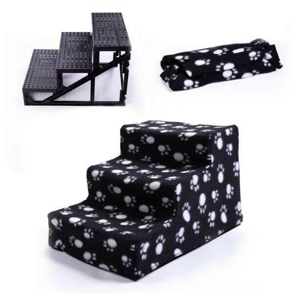 Black Pet Stairs 3 Steps Soft Portable Cat Dog Animal Step Ramp Small Climb
