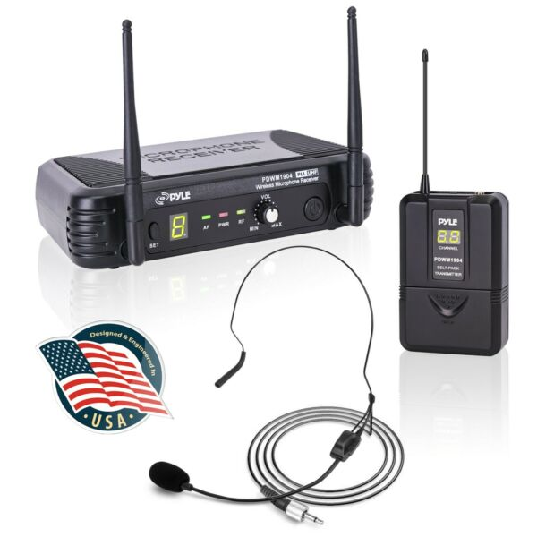 Pyle PDWM1904 2 Mics UHF Wireless Microphone System W Selectable Frequency