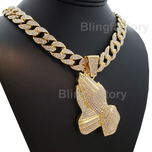 Hip Hop Prayer hands pendant w 18