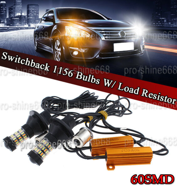 1156 60SMD AmberIWhite 4014 Switchback LED Turn Signal Lamp Light DRL Bulb Kit