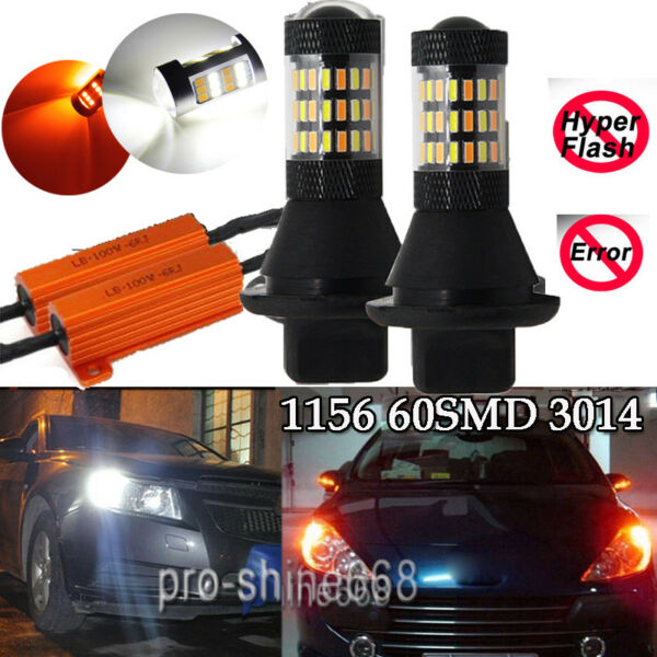 Yellow Amber White 6K Switchback 1156 60SMD 4014 LED Bulbs DRL Turn Signal Light