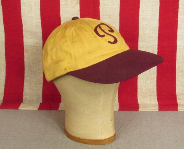 Vintage 1950s Baseball Cap 'P' Chain Stitch Letter GoldBurgundy Fitted Hat Sz.7