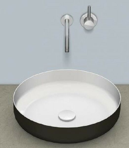 Alape SONDO COUNTER BASIN 450mm 15L Round No-Taphole Glazed Steel BI-COLOUR