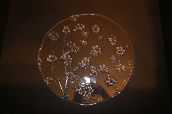 Mikasa Walther Glas Flat Torte Pie Cake Plate Platter Crystal Cherry Blossom