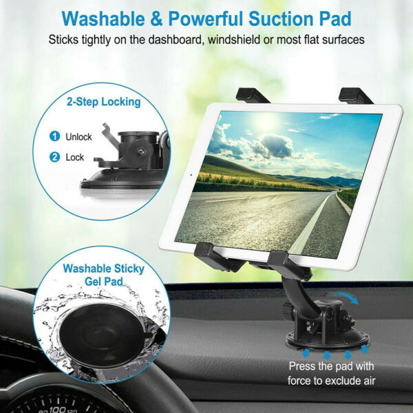 360° Car Windshield & Desk Top Mount Holder For iPad Samsung LG RCA 7-11