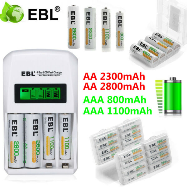 Lot EBL 800110023002800mAh AA AAA NI-MH Rechargeable Batteries  LCD Charger