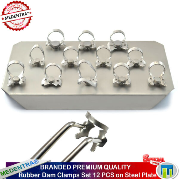 MEDENTRA® Dental Endodontic 12Pcs Rubber Dam Clamps+Holding Tray Stainless Steel