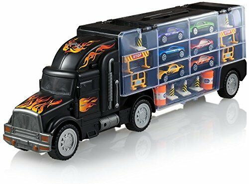Toy Truck Transport Car Carrier 2 Sided Includes 6 Toy Cars and Accessories $25.99