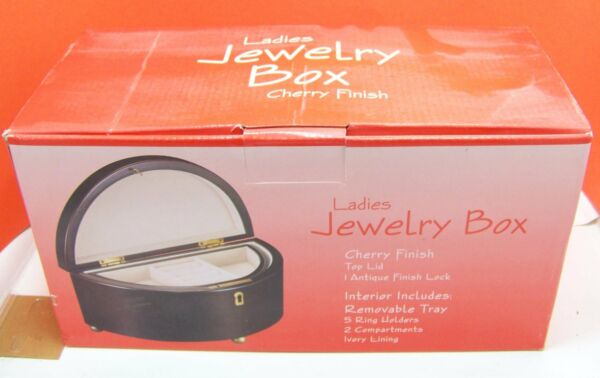 Ladies Jewelry Box Cherry Finish Top Lid Antique finish Lock Removable Tray