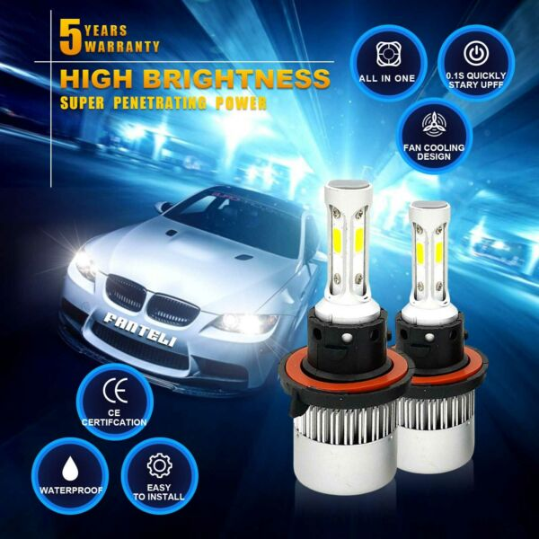 H13 1950W 292500LM CREE LED Headlight Kit High/Low Beam Bulbs White 6000K Power