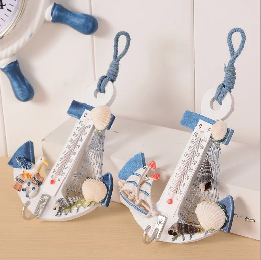 1PC Anchor Shaped Wall Hook Wood Door Hanger Nautical Conch Thermometer Decor $7.73