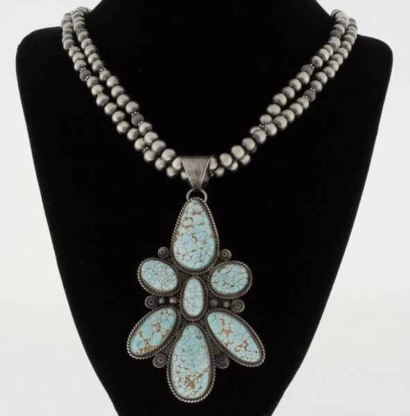Natural #8 Turquoise Cluster Pendant By Navajo Artist Ella M. Linkin