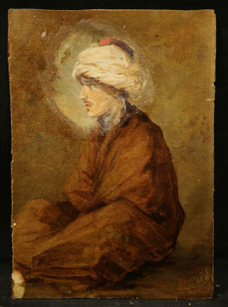 Orientalism Antique Oil Painting on Panel Muslim Man Seated Realistic Style
