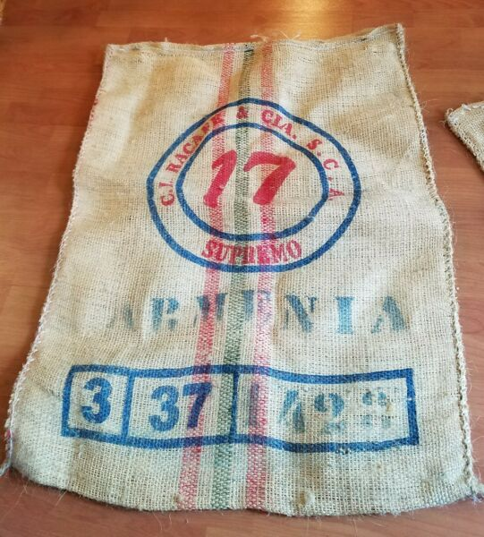 BURLAP SACK LARGE 28 X 37 INCH HEAVYDUTY COFFEE BEAN BAG Product of Colombia