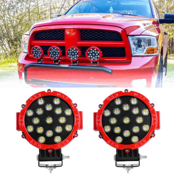 2X 7inch 51W Round Led Work Lights Bull Bar Driving Pods Bike Truck Off Road 4WD $32.99