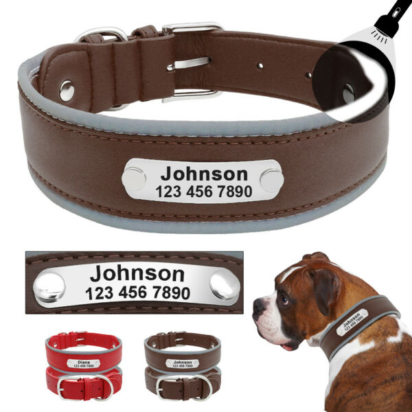 Leather Dog Collars for Large Dogs Personalized Reflective for Pit Bull Bulldog $9.99