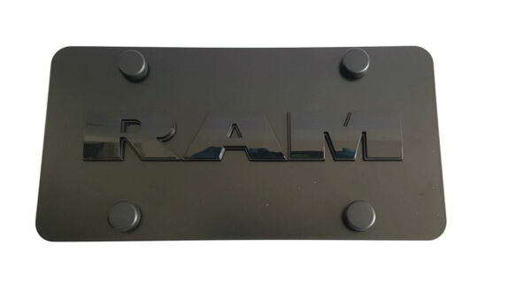 Real Black Stainless Steel License Plate Frame 3D RAM letters Anti Theft Caps