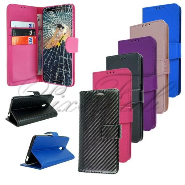 For Nokia 2.1 New Genuine Black Leather Wallet Phone Case Cover Screen Glass GBP 5.95