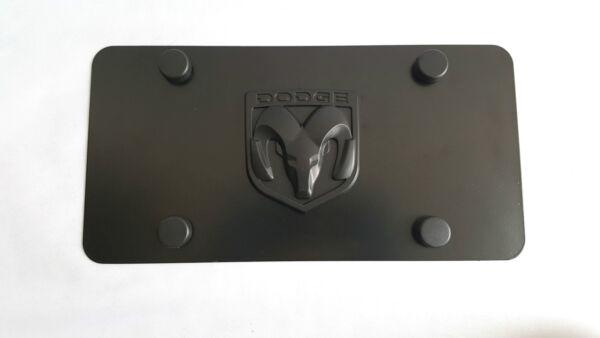 Real Black Stainless Steel License Plate Frame 3D RAM Logo Anti Theft Caps