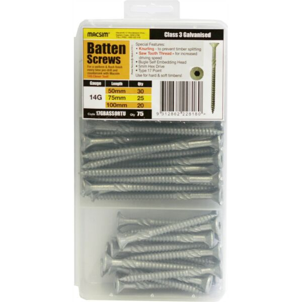 Macsim Fasteners ASSORTED GALVANISED BATTEN SCREWS 75Pcs 5mm Hex Drive*AUS Brand