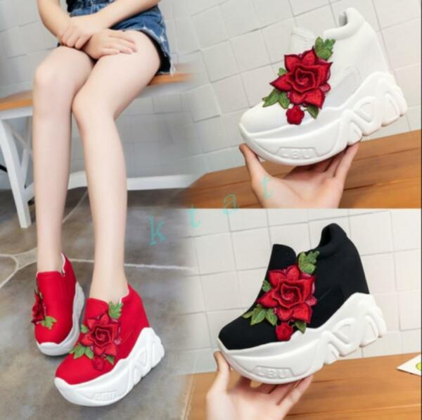 Womens Mixed Color Flower Wedge Heels Platform  Pull On Shoes Sport Sneakers