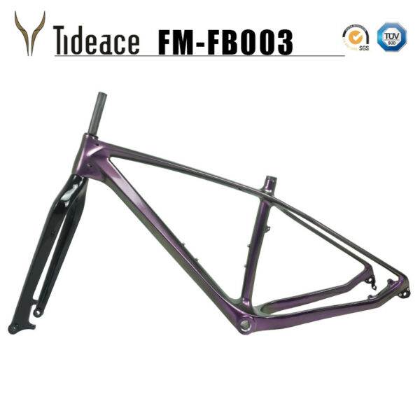 Chameleon Purple Carbon Fiber Fat Bicycle 26er Frame Black Glossy Snow Bike Fork