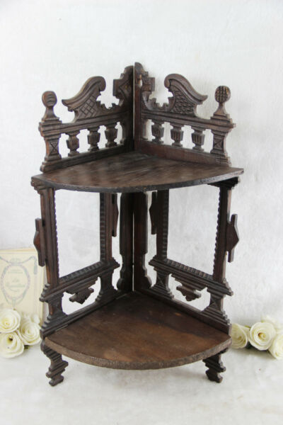 Rare German black forest style wood carved Rack console w photo frame 2 level