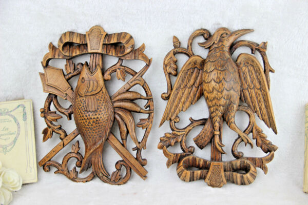 PAIR German black forest wood carved hunting trophy wall plaques 1950