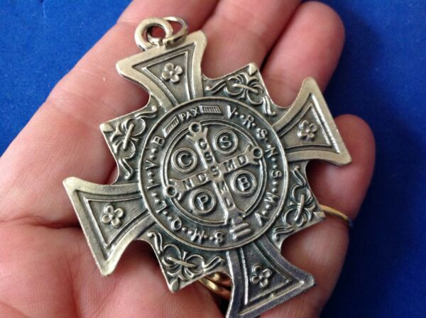 Rare ST BENEDICT Protection Saint Medal Silver Tone Oxidized Metal Large $14.61