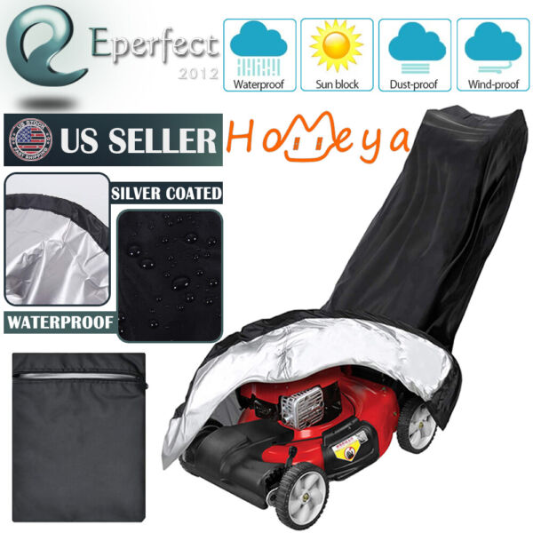 Lawn Mower Cover Waterproof Weather UV Protector for Push Mowers Universal Fit