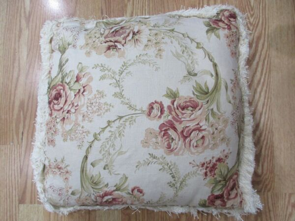 20quot; Shabby Chic Pillow Floral Linen Cover Insert Featherblend Fringe Trim Cream $39.99