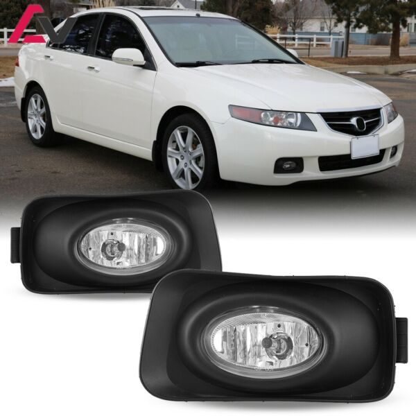 For 2003-2005 Acura TSX Fog Lights (Wiring Switch and Bezels) Kit Clear Lens