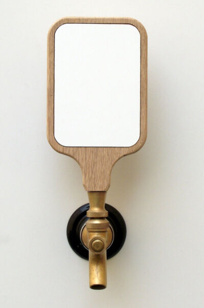 Beer tap handle kit custom with white dry erase insert 3x4 natural oak wood