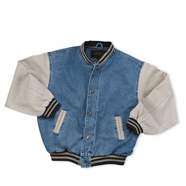 Men#x27;s Washed Vintage Denim Varsity Jacket