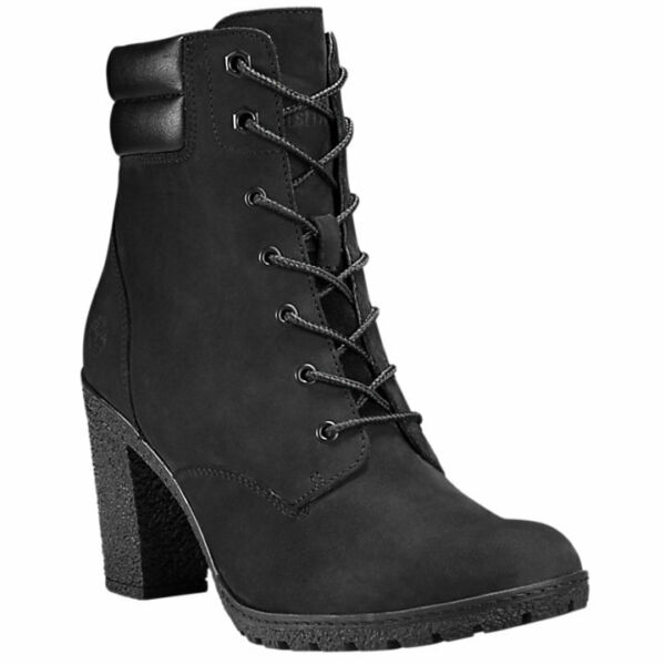 Timberland Women#x27;s Tillston High Heel Black Leather Boots Style A1H1I $109.95