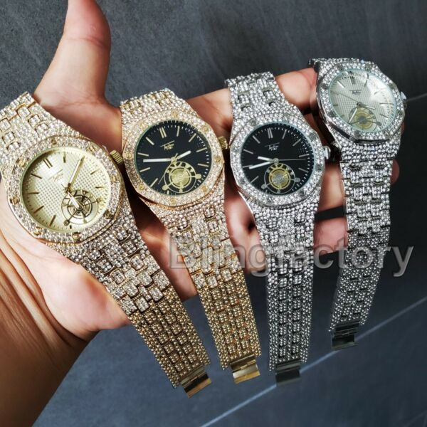 Luxury Men's Iced out Rapper's Lab Diamond Metal Band Dress Clubbing wrist Watch