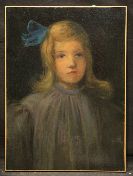 Antique Painting Beautiful Young Girl with Blue Ribbon Vintage Style