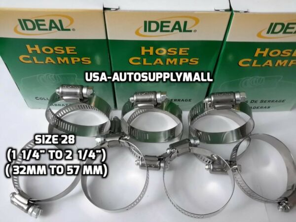 60 X pcs IDEAL- Tridon Hose Clamps Abrazaderas Size 28 (32 to 57mm) Made in USA