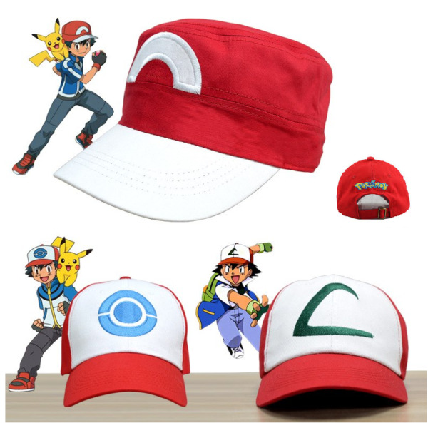 Ash ketchum hat pokemon anime cosplay cap pocket monster costumes red blue hats $17.13